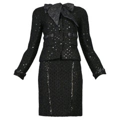Vintage Chanel Black Boucle Sequin Skirt Suit Ensemble