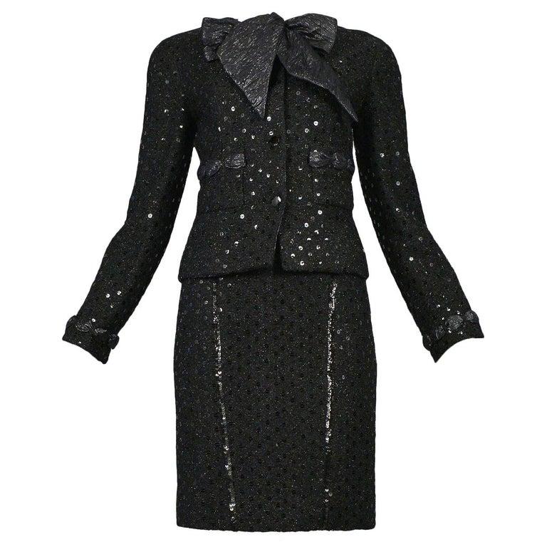Vintage Chanel Black Boucle Sequin Skirt Suit Ensemble For Sale