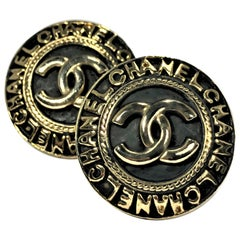 Vintage Chanel Black Enamel with Raised Gold Tone CC Logo & Letter,  Earrings