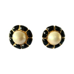 Vintage Chanel Black Flower and Pearl Earrings