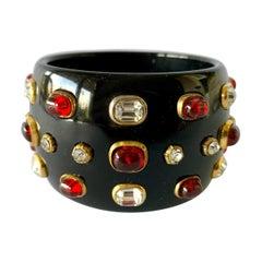 Vintage Chanel Black Jeweled Bangle Bracelet