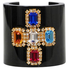 Vintage Chanel Black Jeweled Cross Cuff