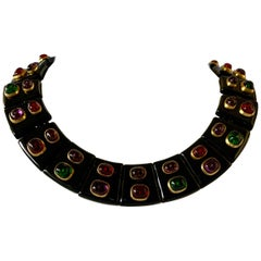 Vintage Chanel Black Jeweled Statement Necklace