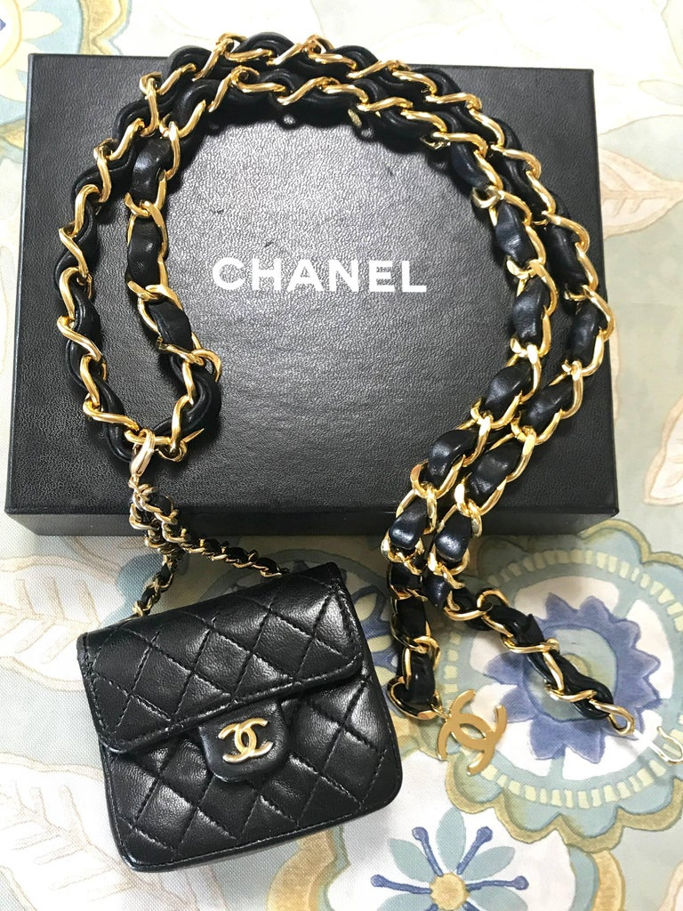 Chanel Vintage Black Lambskin Mini 2 55 Bag Charm Chain Leather Belt With Cc For 15