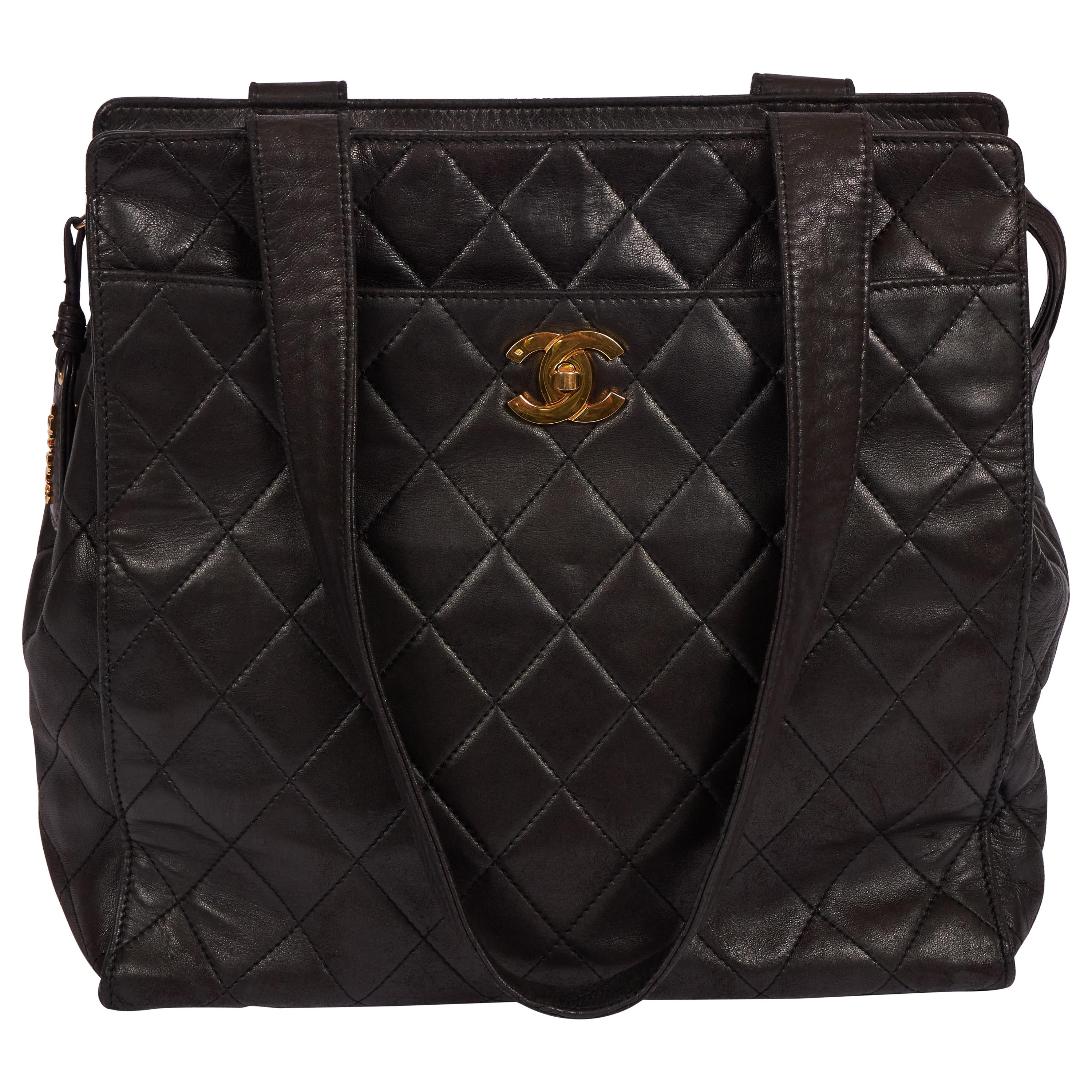 Vintage Chanel Black Lambskin Quilted Leather Tote Bag Gold CC Logo