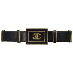 Vintage Chanel Black leather & Gold CC Belt