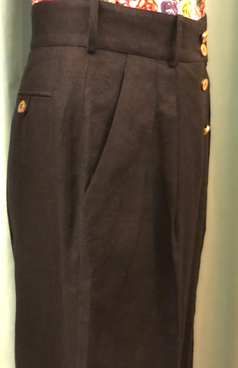 Vintage Chanel Black Linen Pants  In Excellent Condition For Sale In Sheung Wan, HK