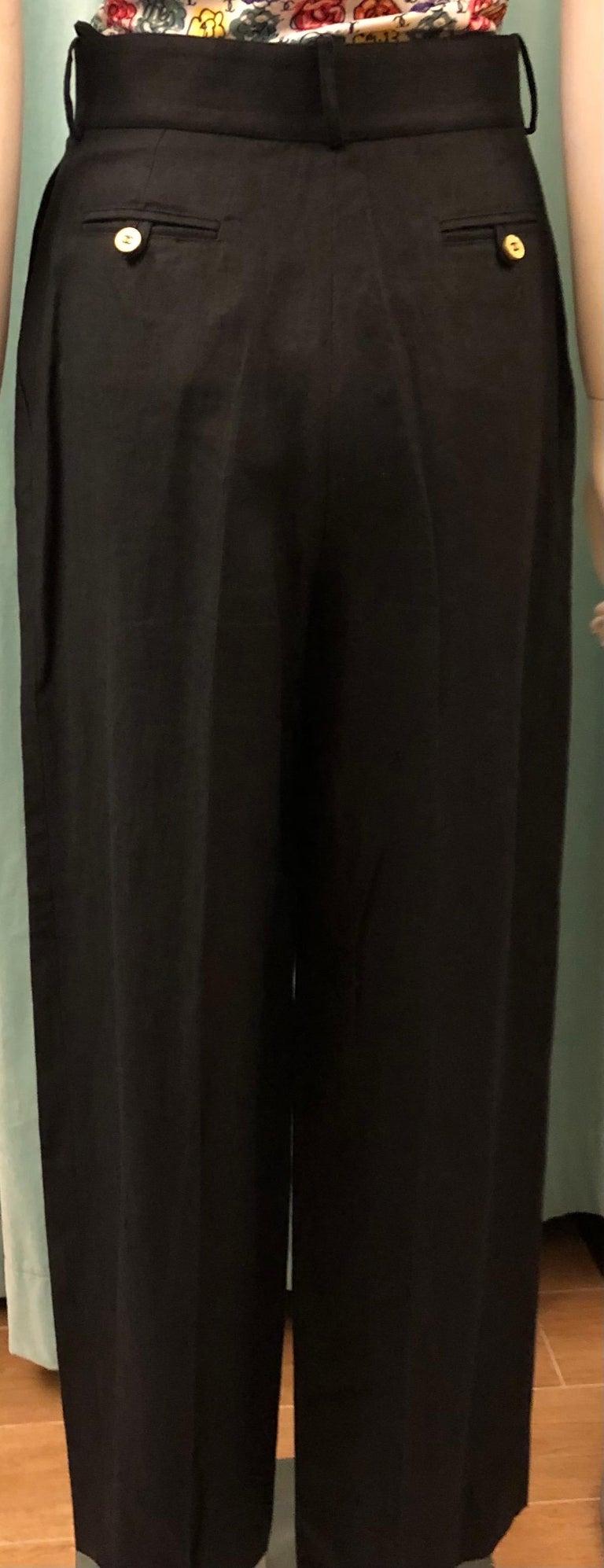 Women's or Men's Vintage Chanel Black Linen Pants  For Sale