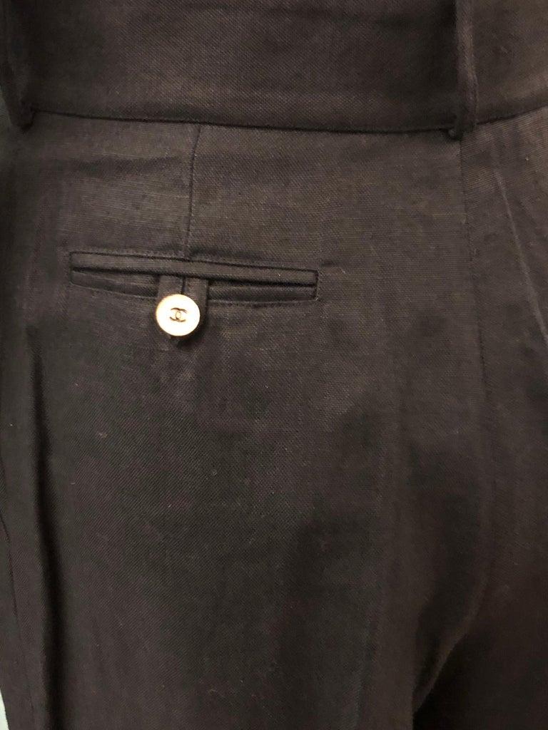 Vintage Chanel Black Linen Pants  For Sale 1