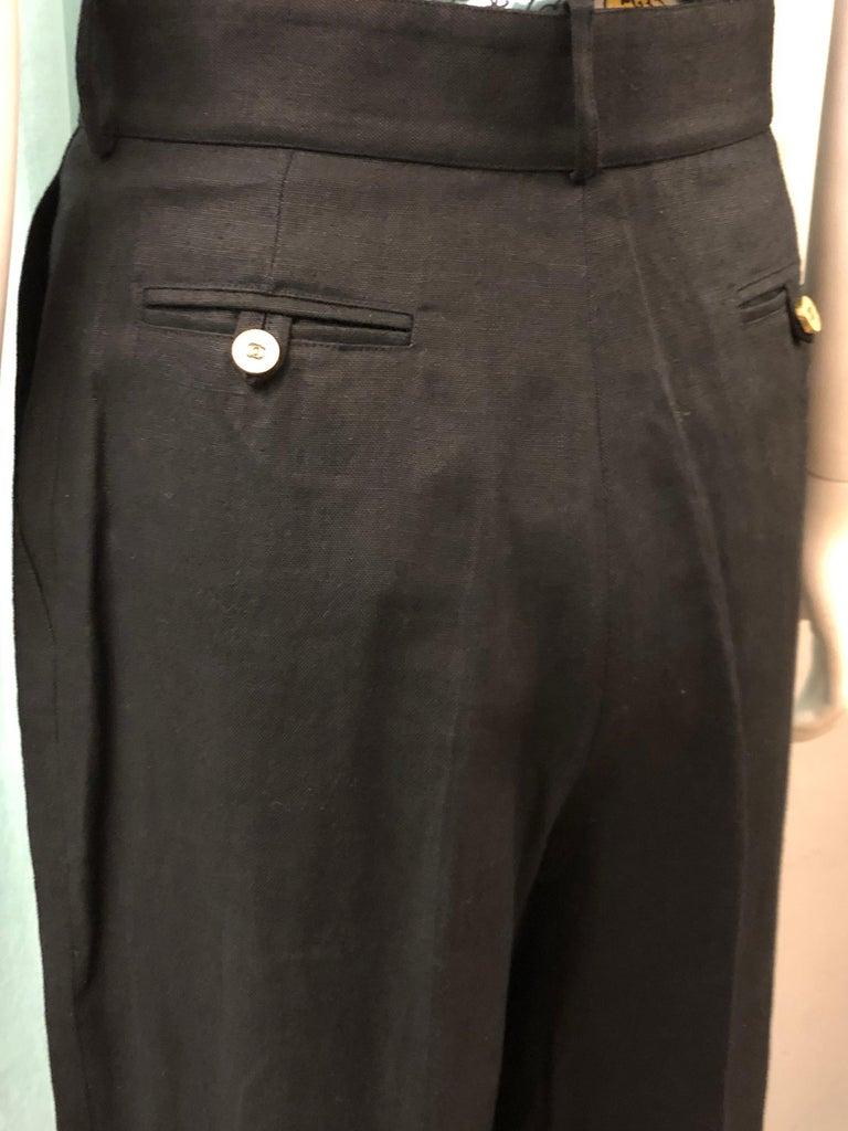 Vintage Chanel Black Linen Pants  For Sale 2