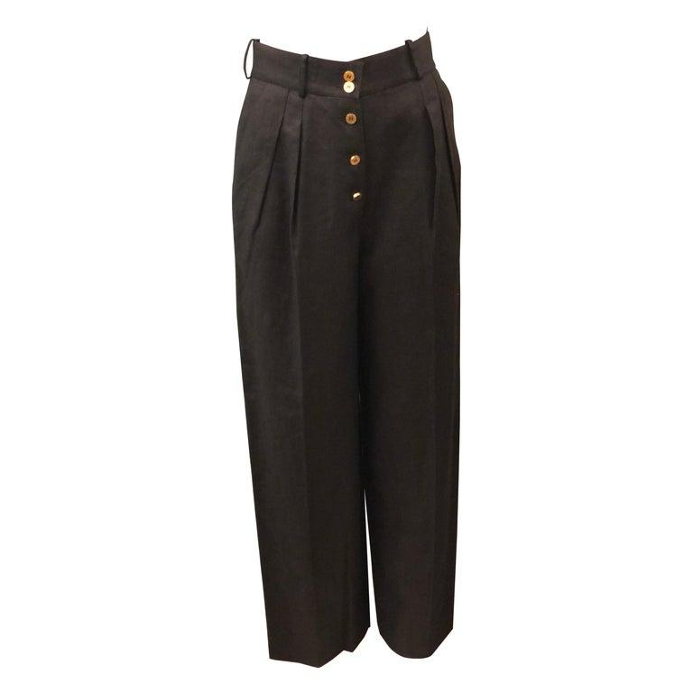Vintage Chanel Black Linen Pants  For Sale