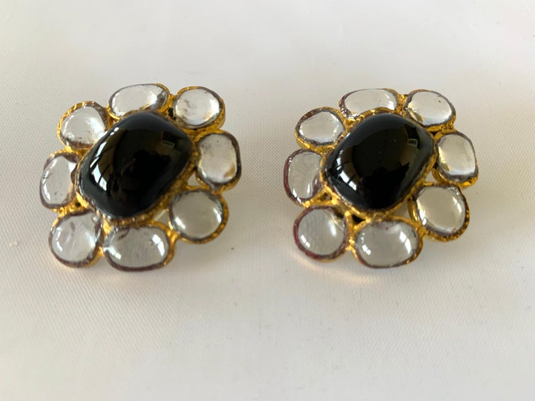 Vintage Coco Chanel Anglo Indian style statement earrings comprised out of gilt metal