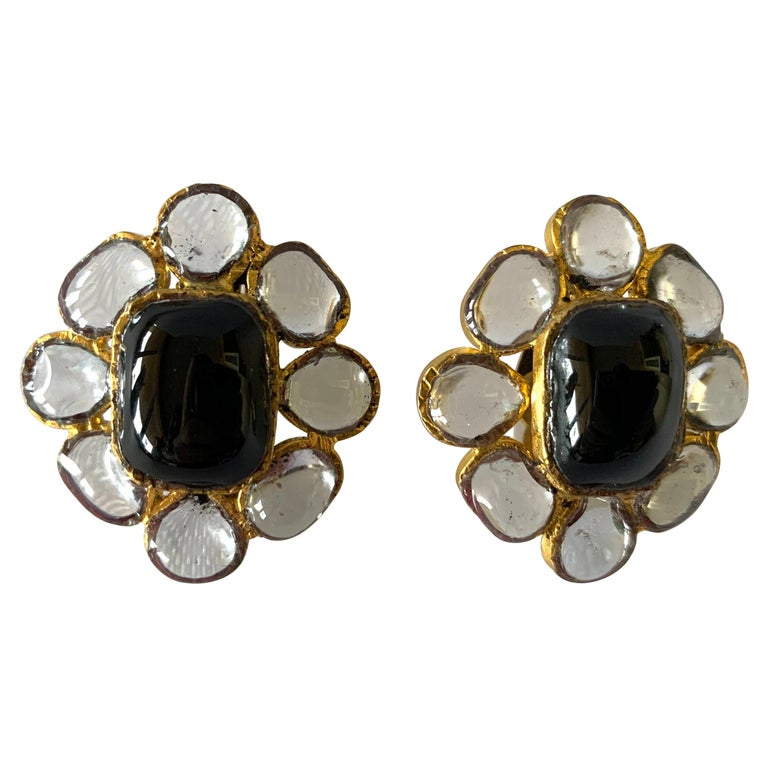 """Vintage Chanel Black """"pate de verre"""" Anglo Indian Style Earrings  For Sale"""