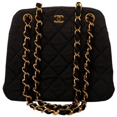 Vintage Chanel Black Quilted Gold Chain Bag