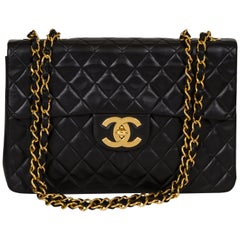 Vintage Chanel Black Quilted Jumbo Classic Flap Bag