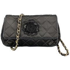 Vintage CHANEL Black Quilted Nylon Leather Trim Cross Body Handbag