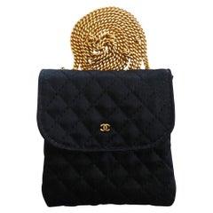 Chanel Black Satin Mini Necklace Bag