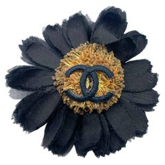 Vintage Chanel Black Silk & Gold Sunflower CC Motif Brooch 1980s