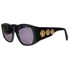 Vintage Chanel Black Sunglasses with Gold Camellia Flower Medallions