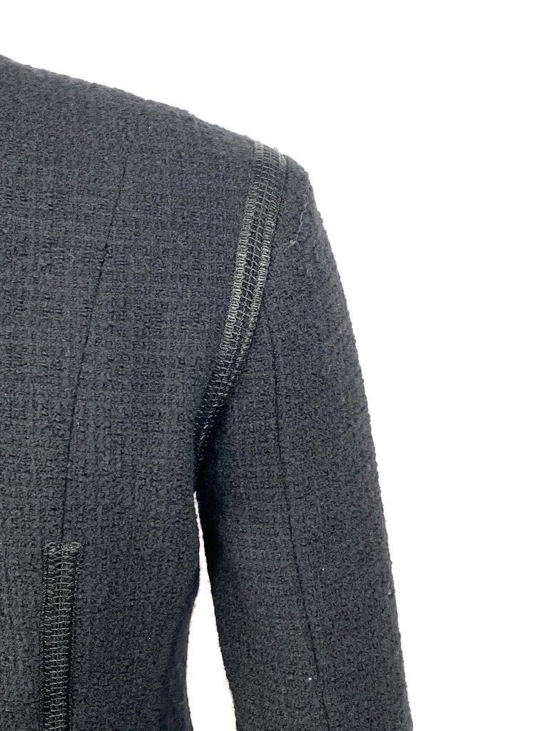 Vintage Chanel Black Tweed Blaze Jacket Size 38 For Sale 6