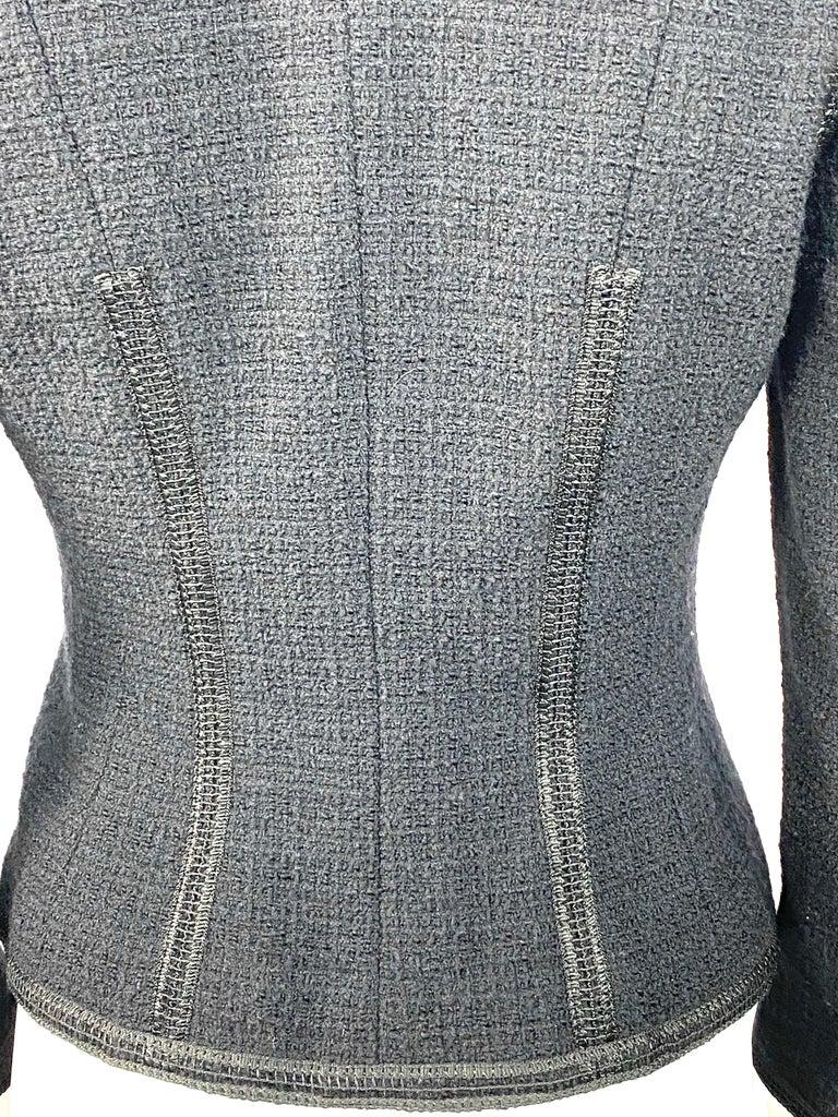 Vintage Chanel Black Tweed Blaze Jacket Size 38 For Sale 7