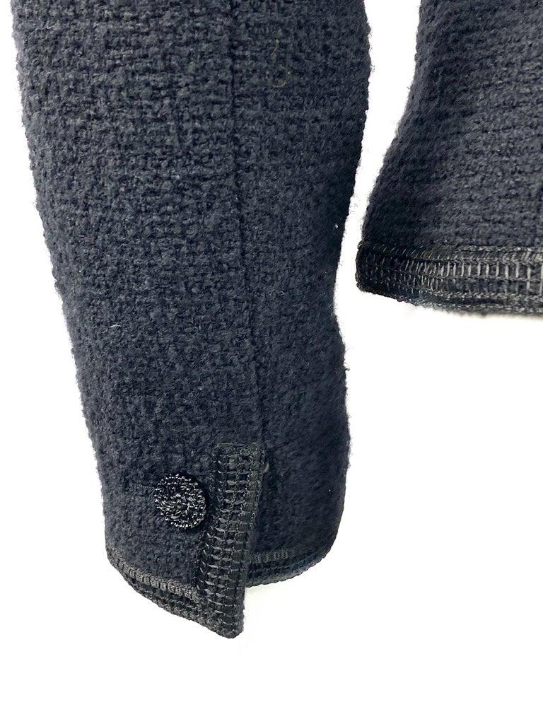 Vintage Chanel Black Tweed Blaze Jacket Size 38 For Sale 8