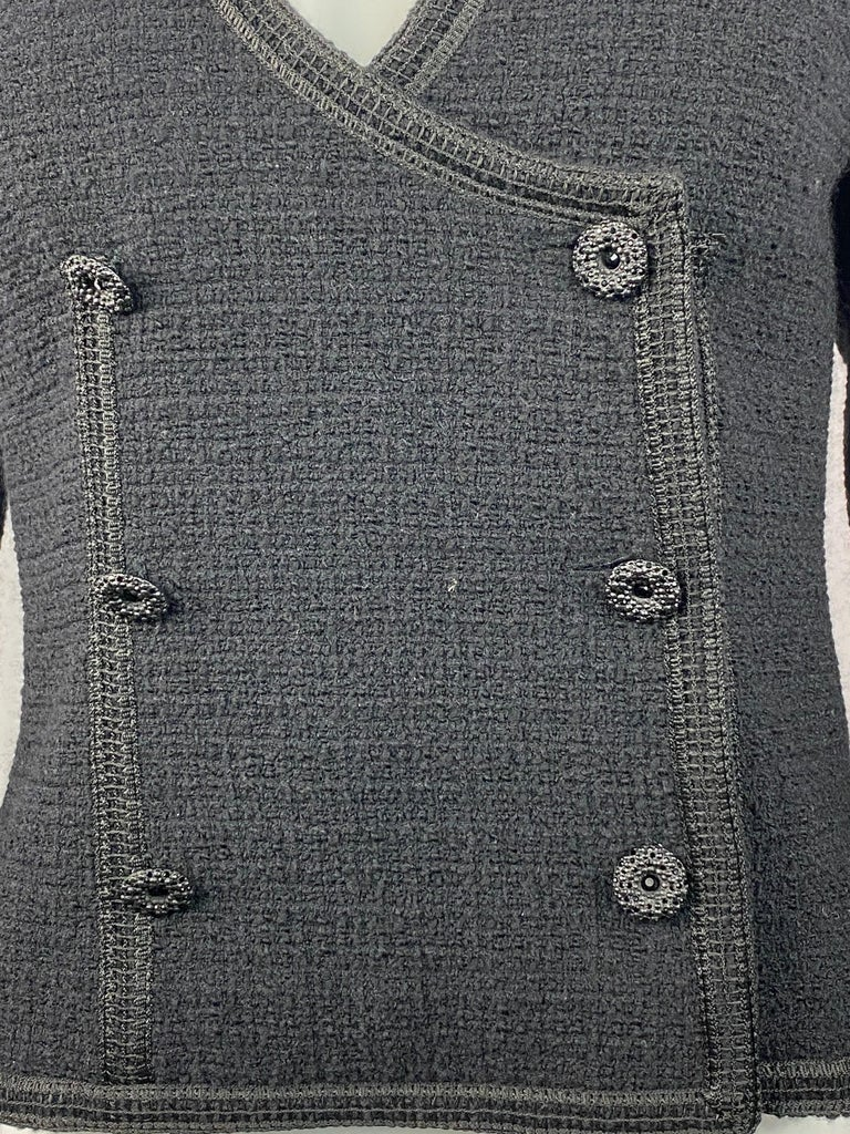 Vintage Chanel Black Tweed Blaze Jacket Size 38  Product details: Size 38 Featuring half collar detail on the left side V- neck Front six buttons closure Black Swarovski crystals on all the buttons and CC logo that is located on the left bottom