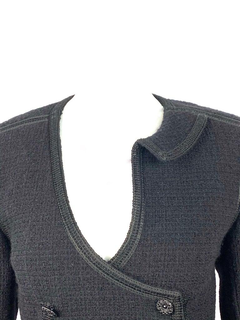 Women's Vintage Chanel Black Tweed Blaze Jacket Size 38 For Sale