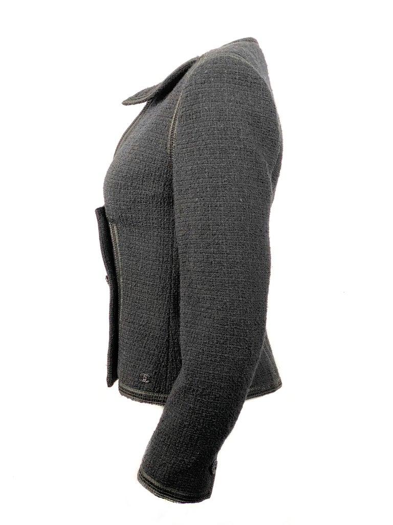 Vintage Chanel Black Tweed Blaze Jacket Size 38 For Sale 3