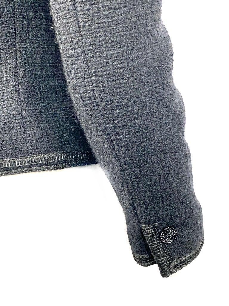 Vintage Chanel Black Tweed Blaze Jacket Size 38 For Sale 5