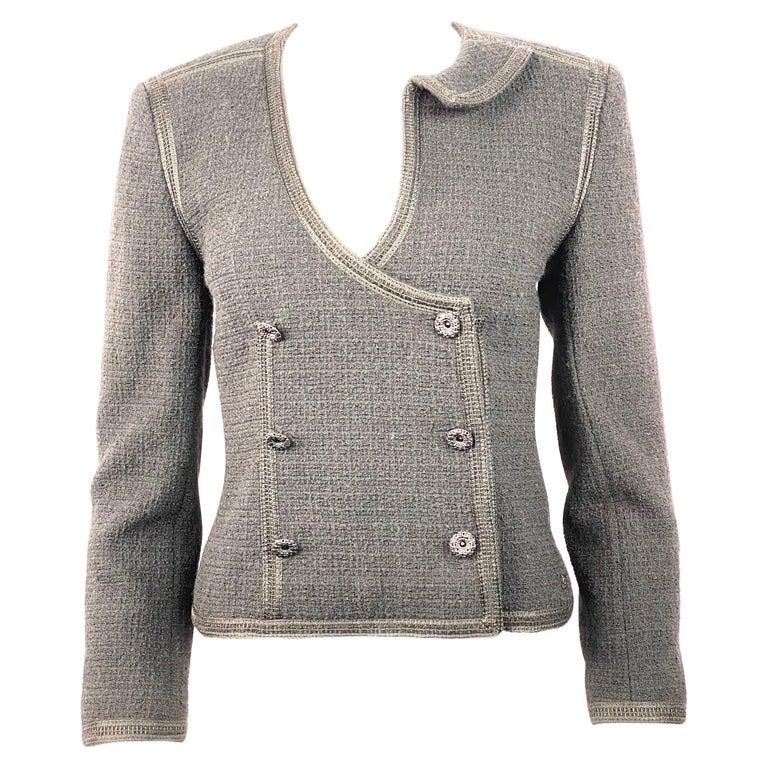Vintage Chanel Black Tweed Blaze Jacket Size 38 For Sale