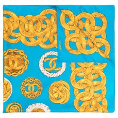 Vintage Chanel Blue & Gold Chain Medallion CC Logo Silk Scarf