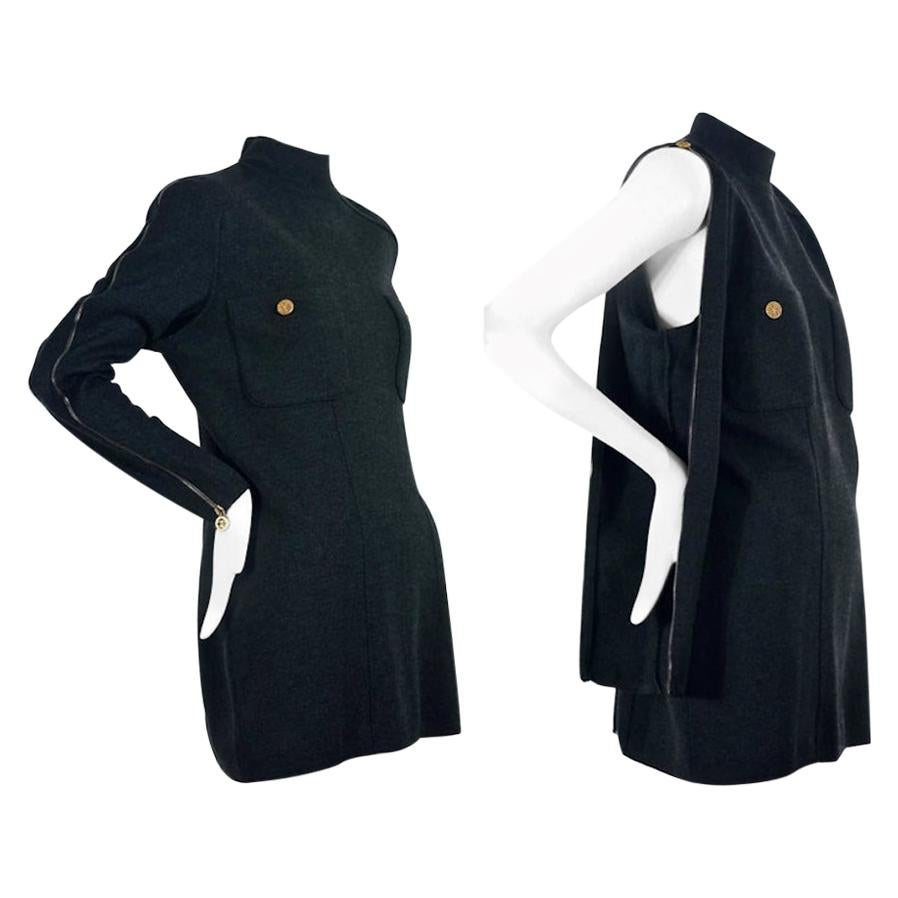 Vintage CHANEL BOUTIQUE Logo Zipper Convertible Wool Sweater Dress