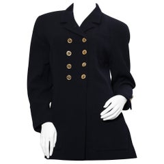 Vintage Chanel Boutique  navy blue jacket with double  golden chanel  buttons