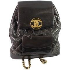 Vintage Chanel Brown Backpack with Golden Hardware