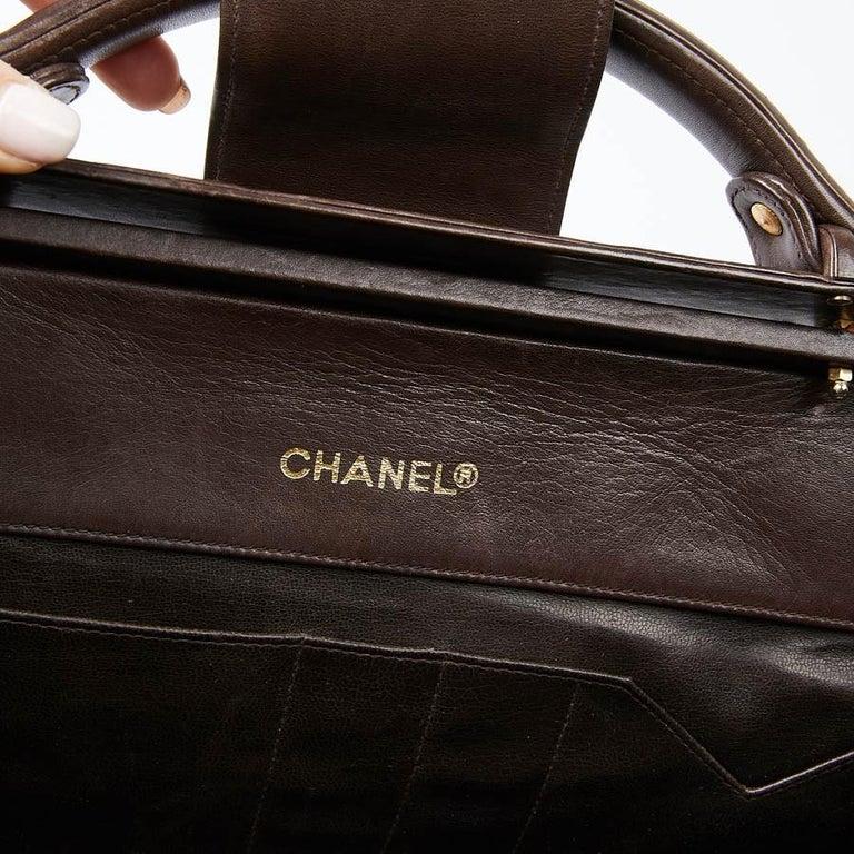 Vintage CHANEL Brown Bowling Doctor Bag For Sale 5