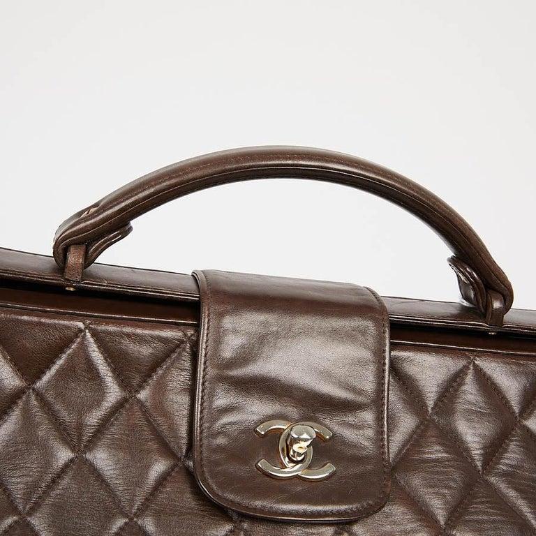 Vintage CHANEL Brown Bowling Doctor Bag For Sale 8