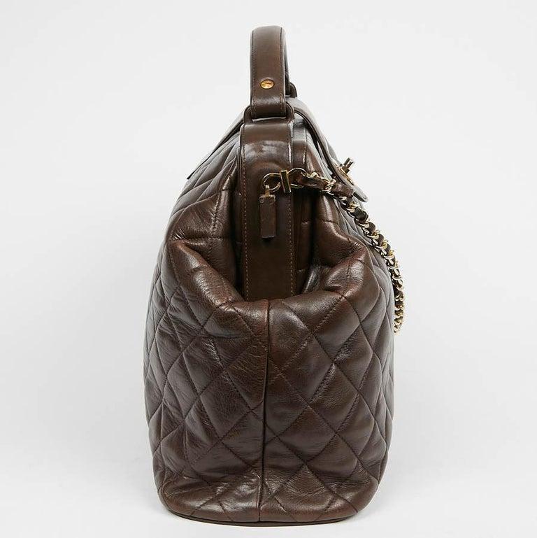 Black Vintage CHANEL Brown Bowling Doctor Bag For Sale