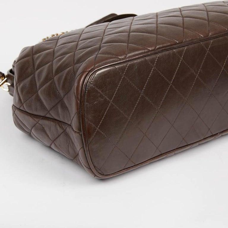Vintage CHANEL Brown Bowling Doctor Bag For Sale 1