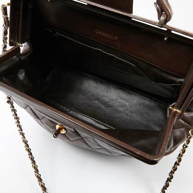 Vintage CHANEL Brown Bowling Doctor Bag For Sale 4