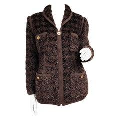 Vintage Chanel Brown Fantasy Tweed Shipmme Zip Front Jacket
