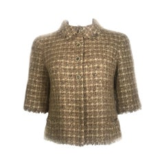 Vintage CHANEL Brown Metallic Tweed Short Sleeve Jacket w/ CC and Pearl Buttons