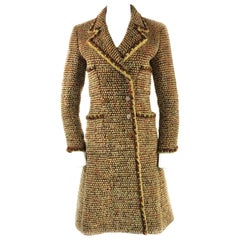 Vintage CHANEL Brown Tweed Coat Size FR34