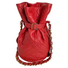 Vintage Chanel Buckle Bag Red Matelasse Leather with Chain Strap F/W 1992 Rare