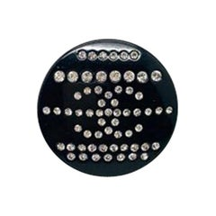 Vintage Chanel Button Tack Pin Crystal Cc Logo In Black Resin 2009