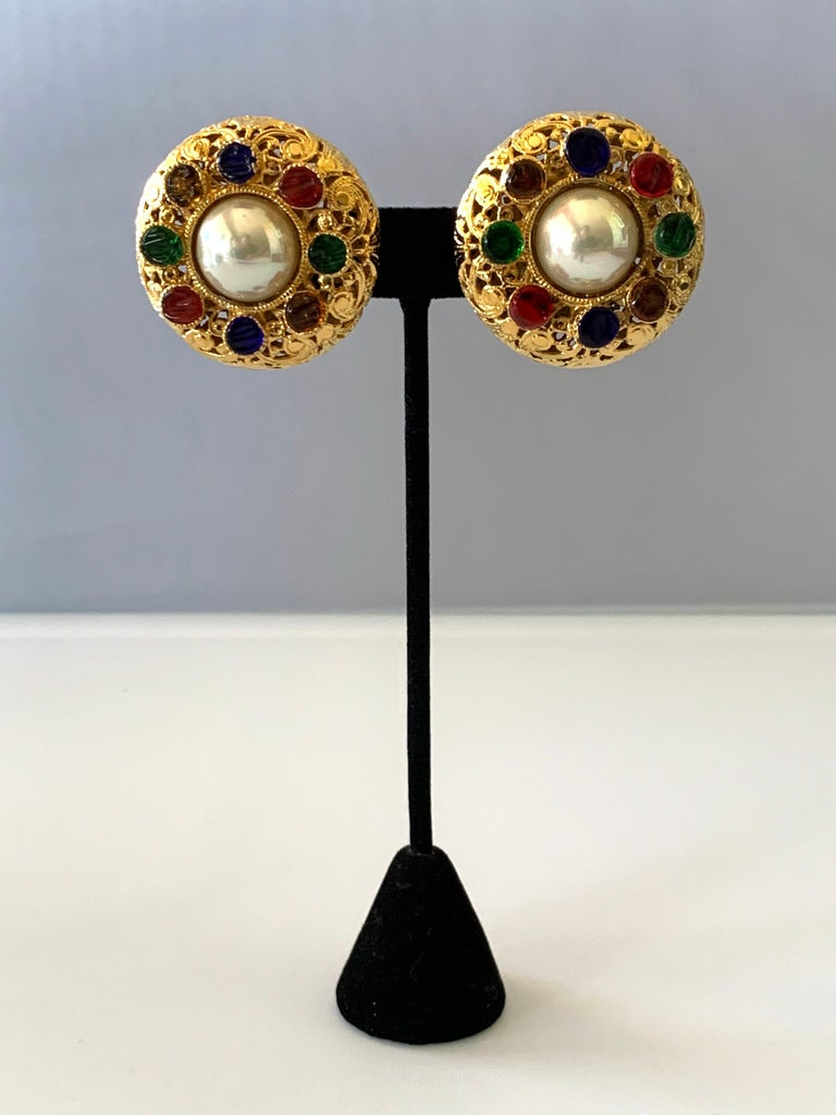 Vintage Chanel Byzantine Gilt Pearl Pate de Verre Round Statement Earrings  In Excellent Condition For Sale In Palm Springs, CA