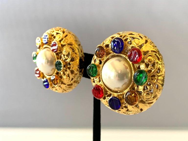 Women's Vintage Chanel Byzantine Gilt Pearl Pate de Verre Round Statement Earrings  For Sale