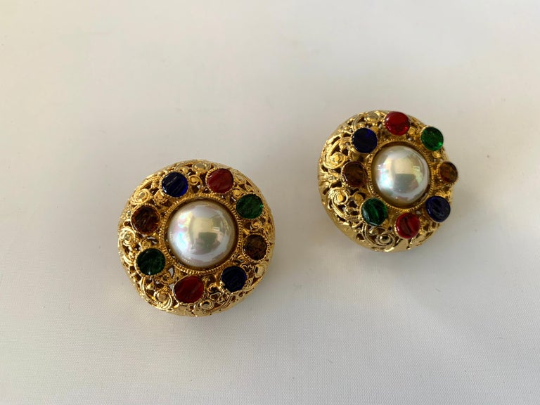 Vintage Chanel Byzantine Gilt Pearl Pate de Verre Round Statement Earrings  For Sale 1