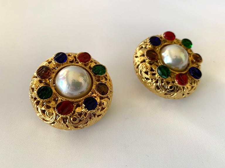 Vintage Chanel Byzantine Gilt Pearl Pate de Verre Round Statement Earrings  For Sale 2