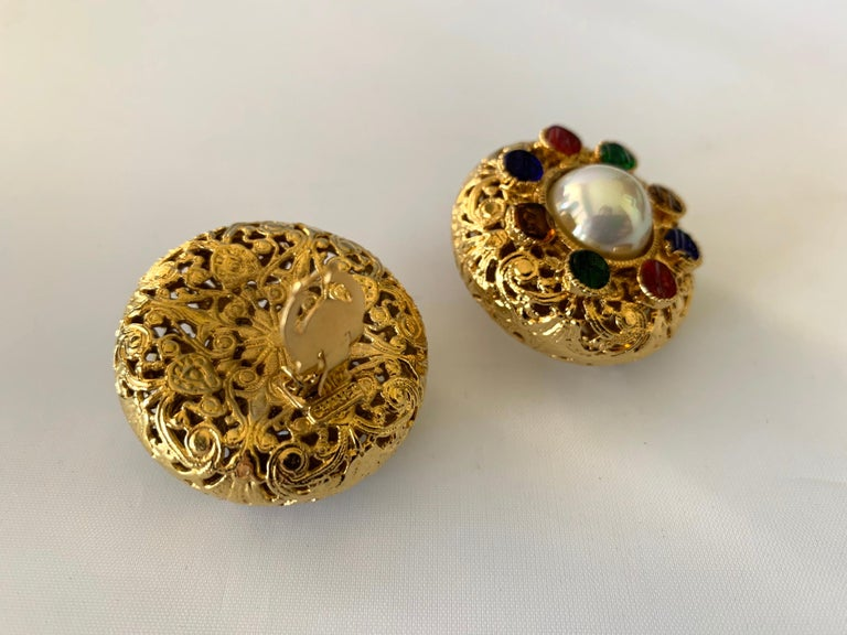 Vintage Chanel Byzantine Gilt Pearl Pate de Verre Round Statement Earrings  For Sale 3